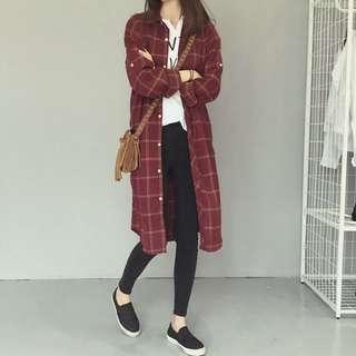 [新] 秋季新款襯衣 韓版BF風寬鬆綵線格子顯瘦口袋中長款襯衫裙薄外套