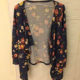 針織花朵開襟罩衫外套