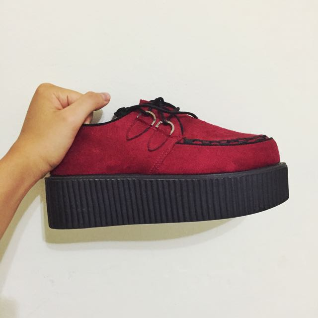 (保留)二手原宿酒紅色鬆糕厚底鞋24號