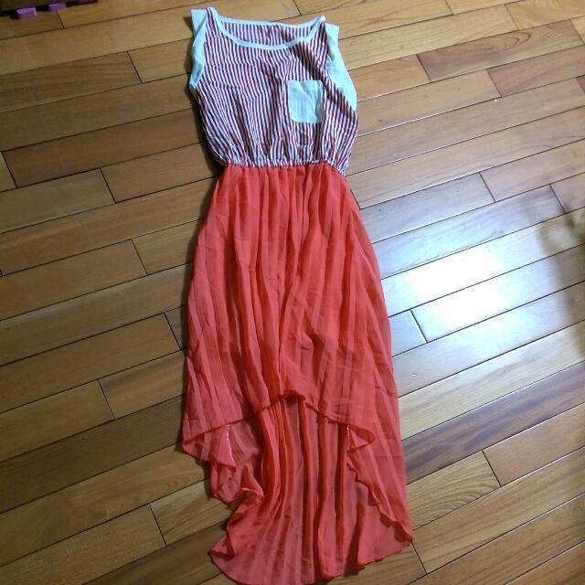 條紋連身長裙