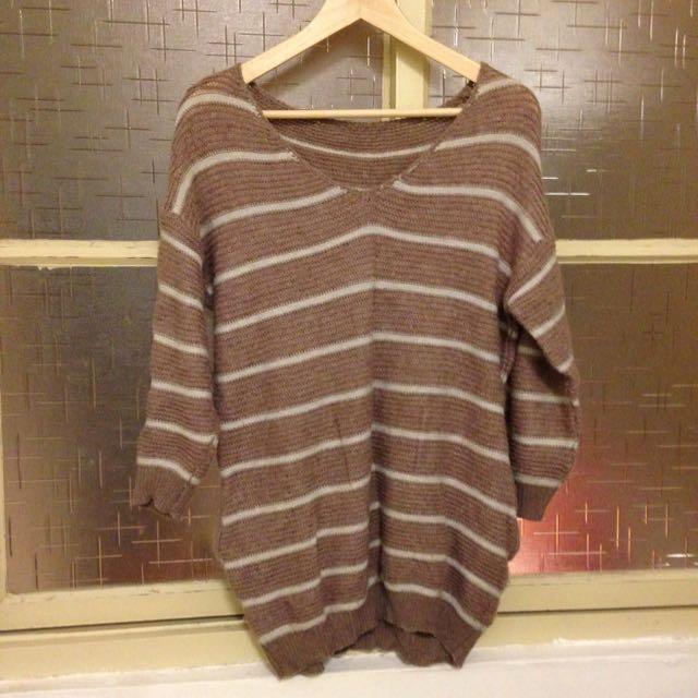 藕色針織毛衣/八成新