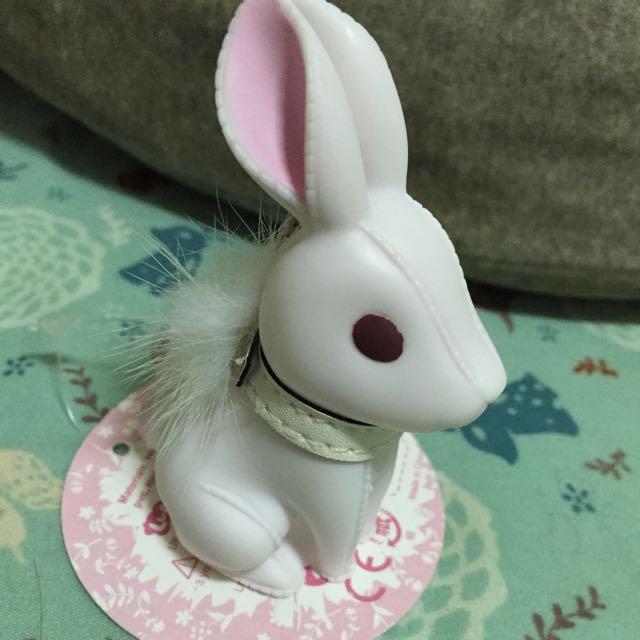 小兔皮環鑰匙圈-白 可當公仔