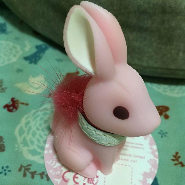 小兔皮環鑰匙圈-粉 可當公仔