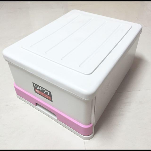 (已預定)淺灰身粉紅色邊 抽屜式大整理箱