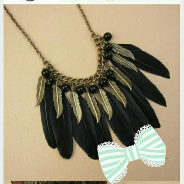 👍全新 典雅黑羽毛百搭珠珠項鍊👙