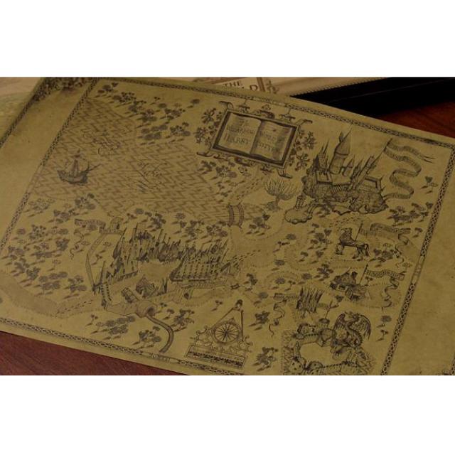 哈利波特 魔法世界地圖 牛皮紙海報