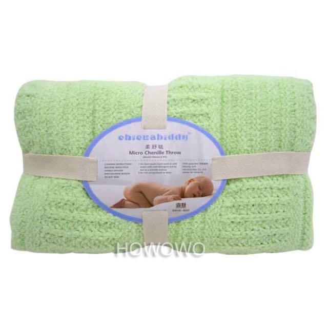 全新未使用 奇哥 立體格紋柔舒毯(大) - 綠