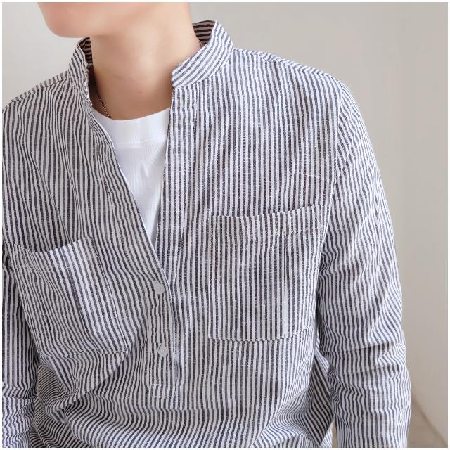 百搭薄款 條紋棉兩扣 長袖襯衫 口袋襯衣 窄版 秋男
