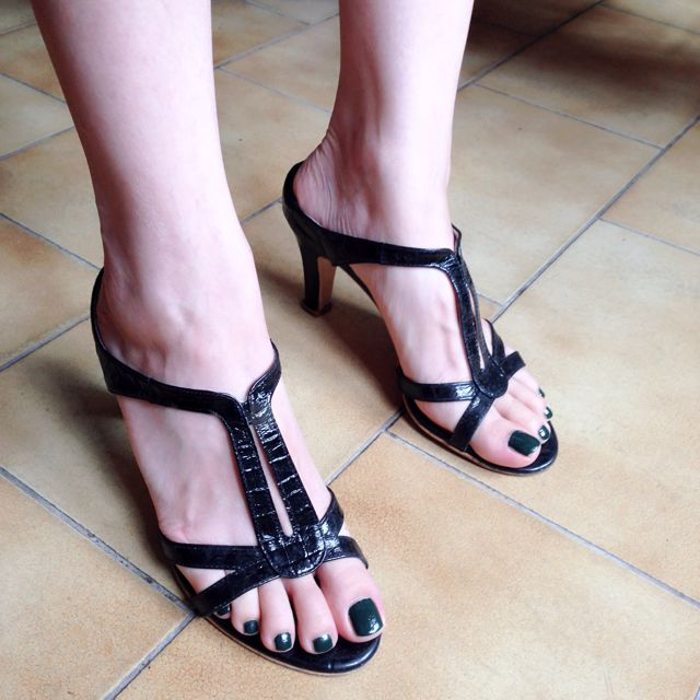 真皮漆亮動物紋跟鞋 (黒 / Size 35)