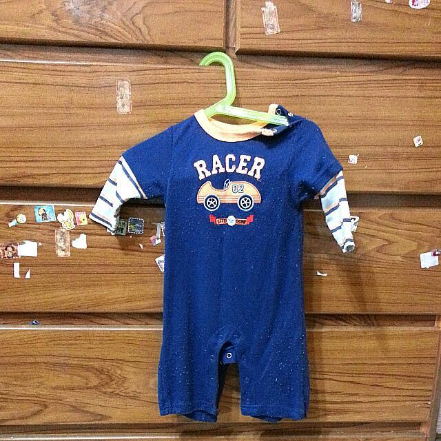 Carter's男寶秋冬款小汽車條紋假兩件連身衣