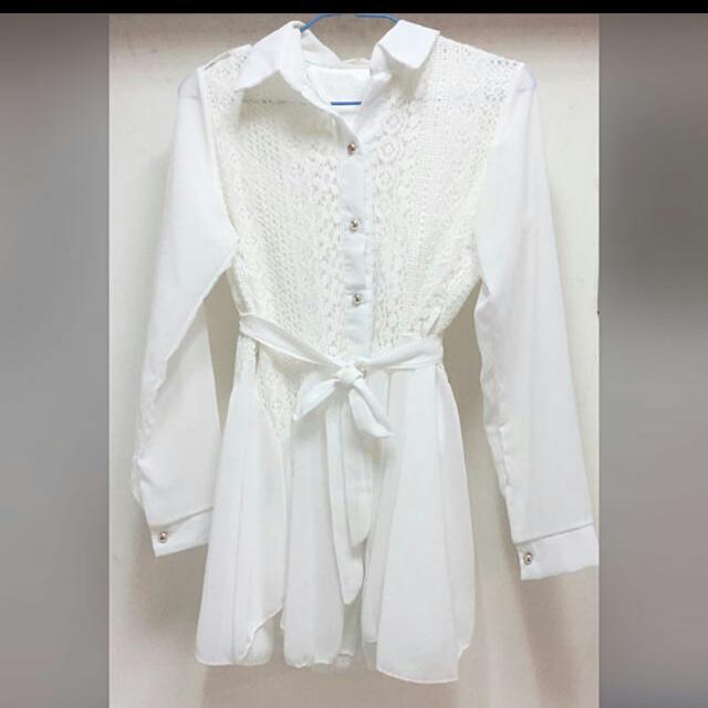全新雪紡蕾絲白紗 綁帶修身薄外套-F