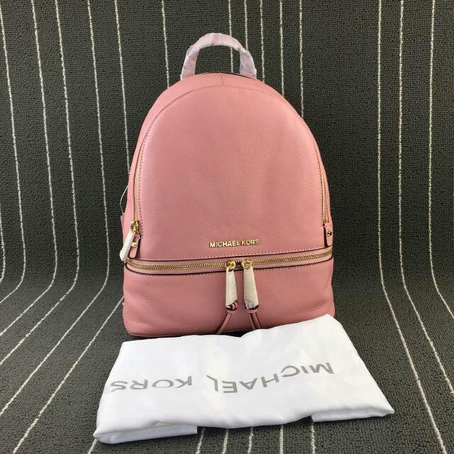 4a50ae258158 P.O: Authentic Michael Kors Rhea Zip Leather Backpack Pale Pink, Luxury on  Carousell
