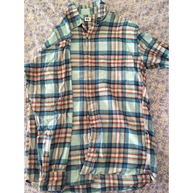二手Uniqlo 法蘭絨格紋襯衫 L