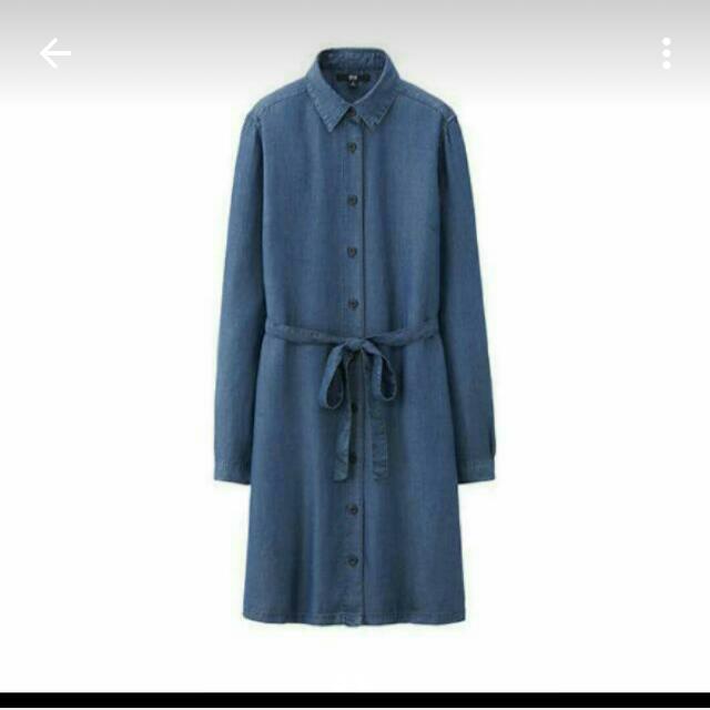 UQ牛仔洋裝深藍s號