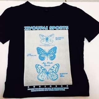 蝴蝶短袖T恤