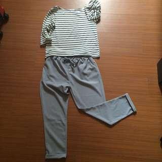 抽繩西裝褲(灰藍)