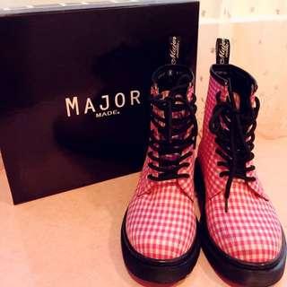 Major Made.經典粉格馬丁鞋👟36