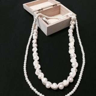 氣質編織 珍珠項鍊