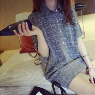 2015年秋裝新款韓版修身格子長版上衣