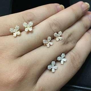 ✨三色蝴蝶鑽石耳環💎