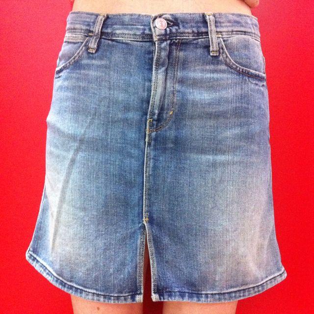 9765d1f748 7 For Allmankind Mini Blue Denim Jeans Skirt With Front Slit. Slight ...