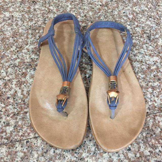 氣質夾腳涼鞋 藍