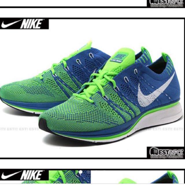 NIKE FLYKNIT TRAINER+ 編織輕量慢跑鞋 寶藍 螢光綠