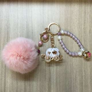 Carriage Bag Charm With Pearls And Glass Beas