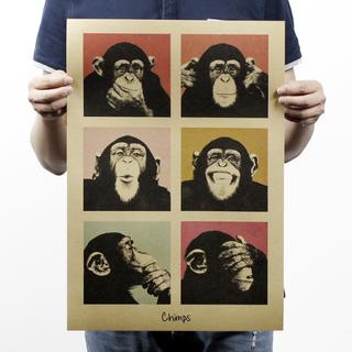 猩猩 不聽 不看 不說 生活法則 牛皮紙海報