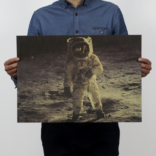 阿波羅登陸月球 牛皮紙海報