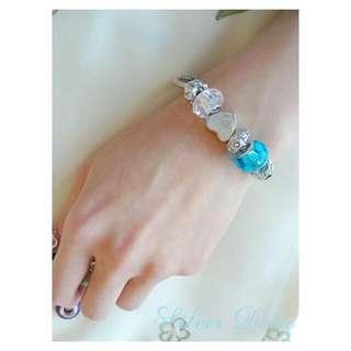 Pandora Style Charm Bracelet Silver Heart Charm