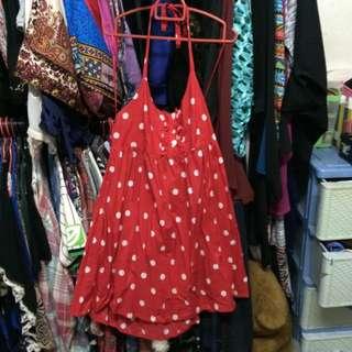 Halter Polka Dot Red Dress