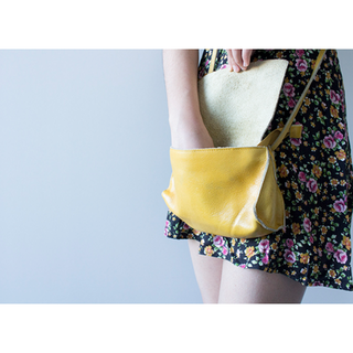 Yellow Leather Sling Purse
