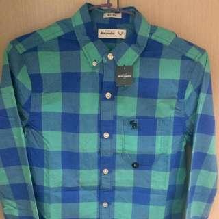全新正品a&f kids(AF,Abercrombie&Fitch)100%純棉長袖襯衫
