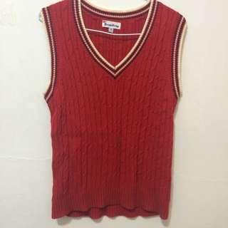 Knights Bridge 學院風 紅色針織背心  M號