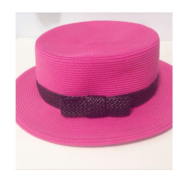 (夏季出清)桃紅色草帽