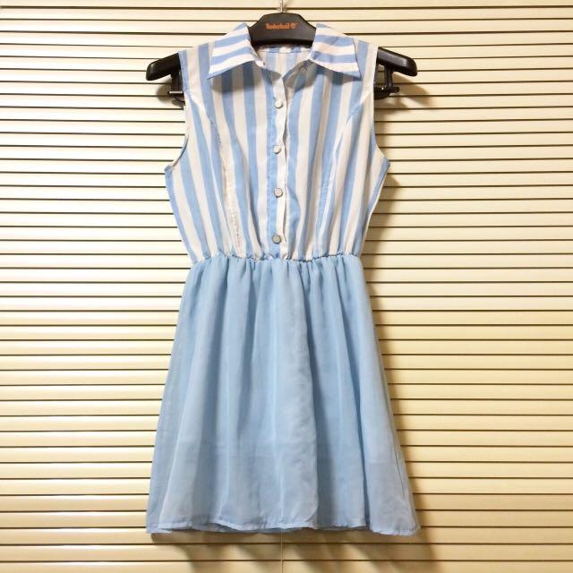 水藍條紋連身裙💧