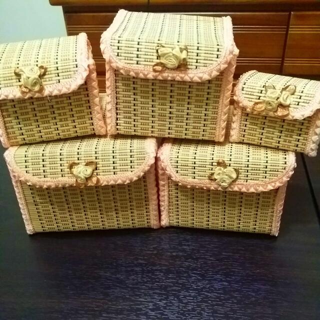 竹子製 五個一組 可以當小收納盒