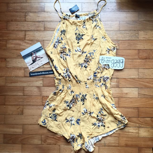 SOLD Brandy Melville Blanche Romper Yellow Florals