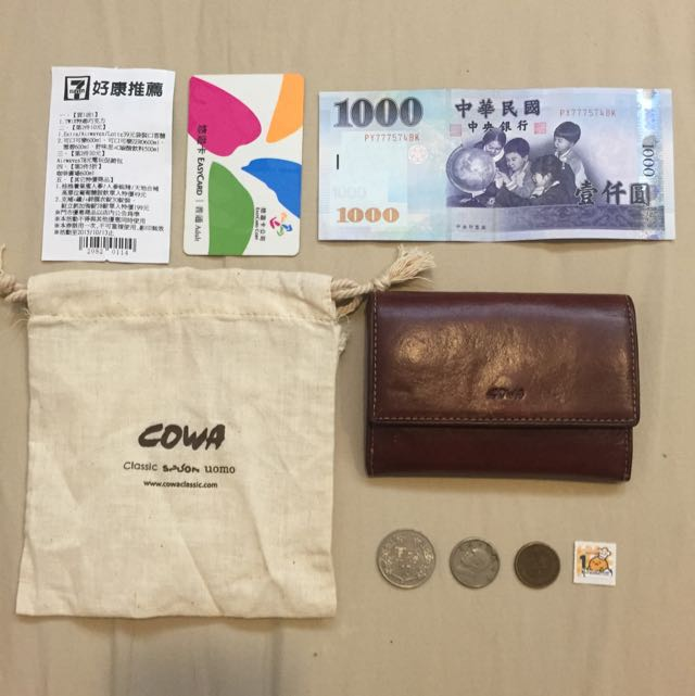 Cowa 真 牛皮 零 錢包 (附麻布縮口袋)