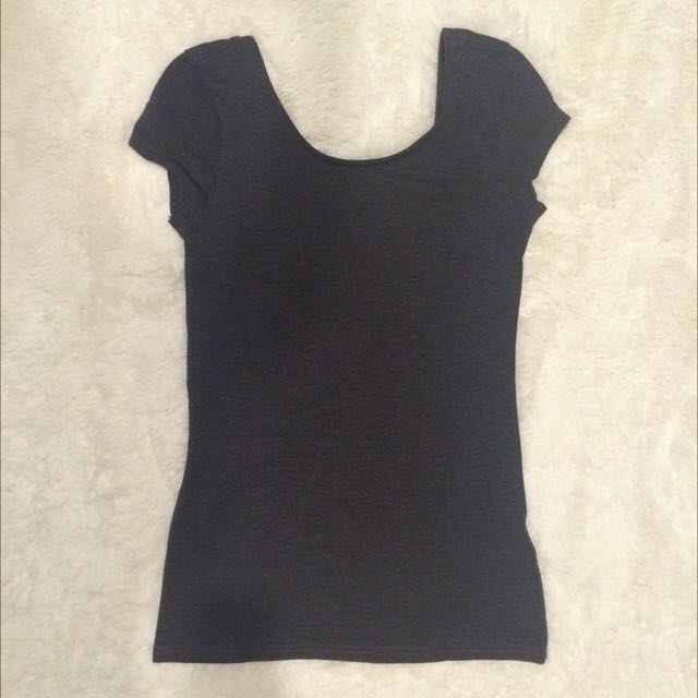 H&M Dark Grey Scoop Back Tee