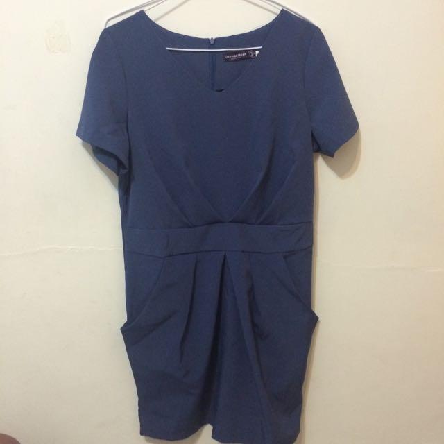 Orange Bear 紗質挺版深藍洋裝