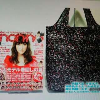 日本雜誌A&amp 黑底小碎花購物袋