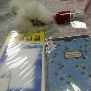 隨便賣 白狗狗吊飾  迷你筆 保護貼 照片雙層卡套
