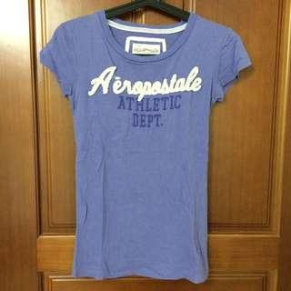 AE粉紫色文字T恤/XS