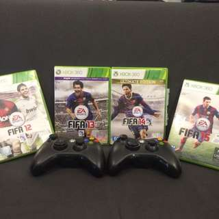 2 Xbox 360 Controllers With Free FIFA Original Games(2012-2015)