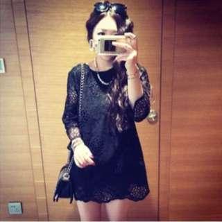 韓 蕾絲 洋裝 質感超好 黑