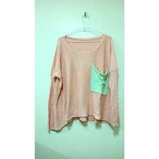 粉色落肩針織毛衣