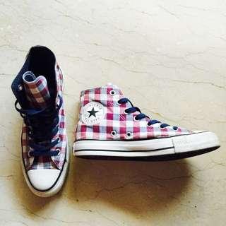 保留~Converse ALL STAR 格紋高筒帆布鞋