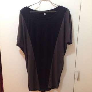 全新 正版UNIQLO蝙蝠袖雙拼長版衫(原價790)